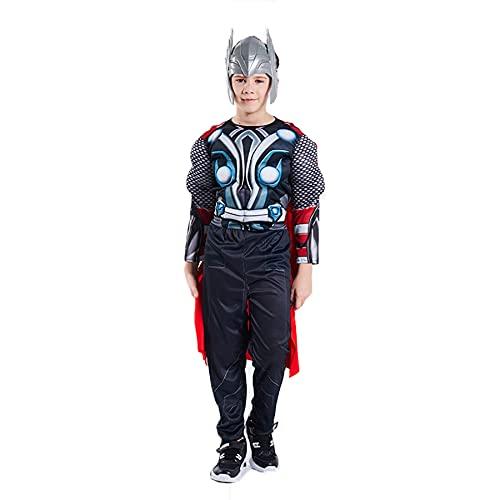 FLJLGY Enfants Muscle Spiderman Cosplay Costumes Garçons Iron Man Onesies Combinaison Halloween Super-Héros Jeu de Rôle Body Film Captain America Déguisement Costume,Thor- Kids L 130~140cm