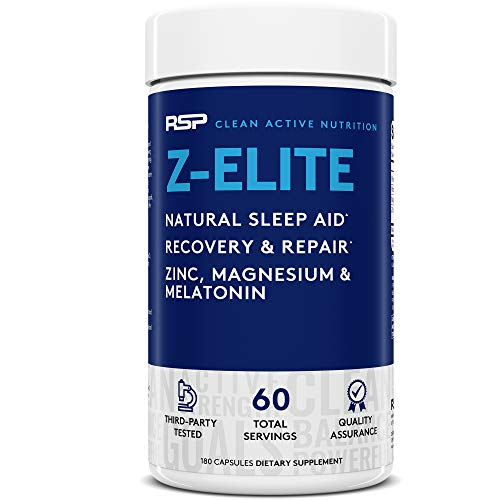 RSP NUTRITION Z-Elite - Natural Sleep and Recovery Supplement with Melatonin, Magnesium, Zinc for Sleep Aid and Muscle Recovery, 180 Caps (Packaging May Vary), 8.6 Ounce