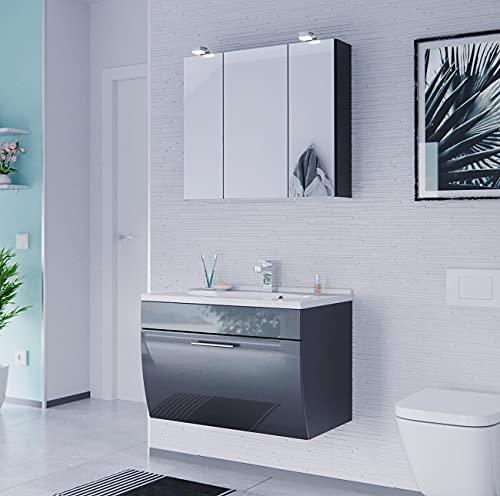 EINFACH GUTE MÖBEL Mueble de baño Salona de 2 piezas | lavabo de 70 cm + armario con espejo LED | antracita brillante
