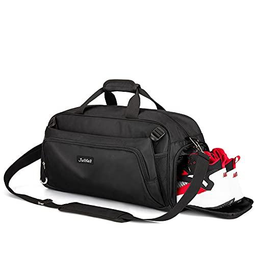 Sporttasche Reisetasche mit Schuhfach und Nassfach Wasserdicht Fitnesstasche für Sport Badminton Trainingstasche Weekender Handgepäck Tasche Übernachtung Tasche für Männer und Frauen(Schwarz)
