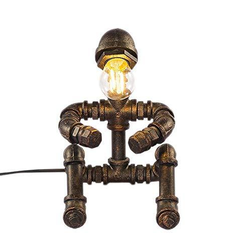DJY-JY American Retro Industrial Novel Lámpara de mesa creativa manguera de agua escritorio luz estudio, dormitorio de lectura bar, restaurante antiguo, Edison, LED, café, pensador, robot vintage, luz