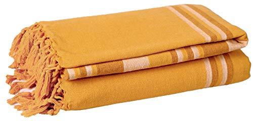 EHC, 250 x 250 cm, gestreift, aus Baumwolle, groß, 3 oder 4-Sitzer, Sofa-Überwurf für King-Size-Bett Lindgrün