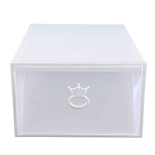 Cabilock Aufbewahrungsschuhe Box Stapelbar Schuhcontainer Schublade Typ Klar Schrank Regal Schuh Organizer für Sneaker Absatz Sandale 33X14 Weiß