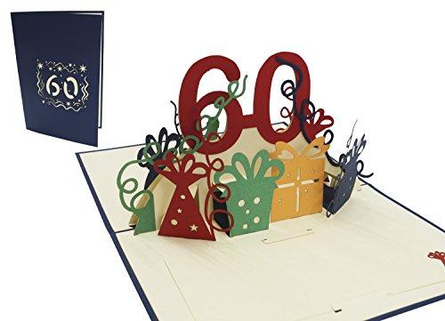 LIN17265, POP UP Karte, 3D Grußkarte, Geburtstagkarte, 60. Geburtstag, 60 Jahre Jubiliäum, blau, N23