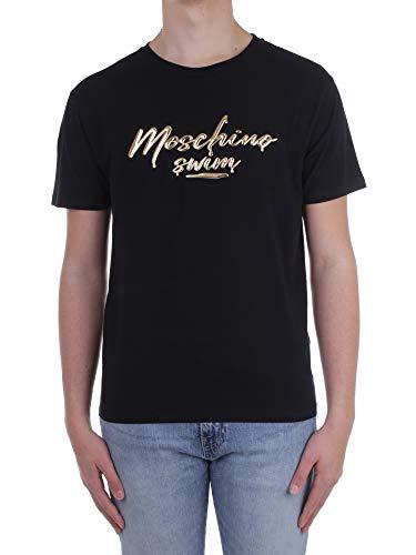 MOSCHINO SWIM T Shirt Nera con Scritta in Rilievo (X-Large)