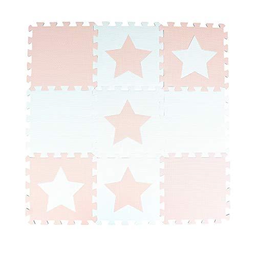 9 azulejos de esterilla de juego de bebé de espuma rosa/blanco interconectables con dibujos de estrellas. Cada azulejo mide 30 x 30 cm. Total 0.9 m2