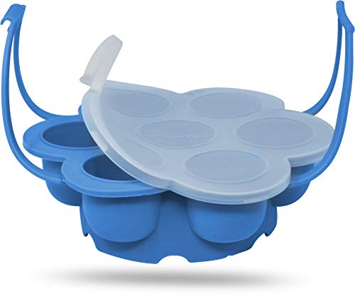 Salbree Egg Bite Mold for Instant Pot Accessories Silicone Instapot Steamer Molds Container for Eggs Meatloaf fits Insta Pot Cooker 5qt 6qt 8qt - Built-In Handles & Trivet (light blue)