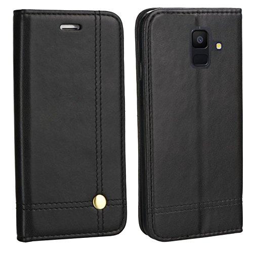 MOX Edle Buch Klapp Tasche SCHWARZ Flip Book Hülle Schutz Hülle Etui passend für Samsung Galaxy A6 Duos SM-A600FN/DS