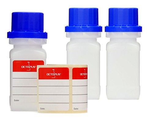 Octopus 3X 50 ml Weithalsflaschen mit Schraubverschluß, Chemiekalienflasche, Laborflasche