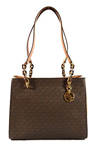 Snap Closure, 8 Open Pockets, 1 Zipper Pocket, 1 Middle Zipper Compartment Leather/Signature Coated Canvas 13''L X 10''H X 4.5''W 11'' Handle Drop