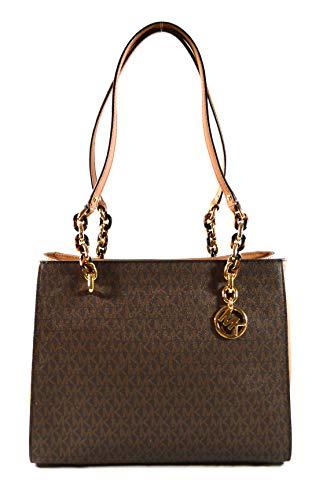 Michael Kors Sofia Large Saffiano Leather Tote Shoulder Bag Purse Handbag (Brown/Acorn) Medium
