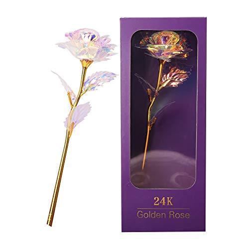 Enmayode Rosa de oro de 24 quilates, regalo para mujeres, flores artificiales, decoración de plástico para boda, novia, día de la madre