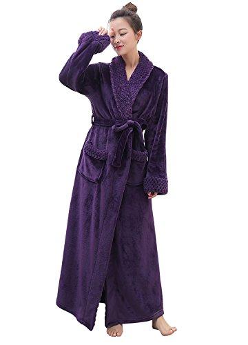 Women's Luxurious Fleece Bath Robe Plush Soft Warm Long Terry Bathrobe Full Length Sleepwear, Purple, XL