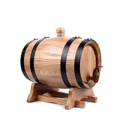 AJZXHE Weinfass Eichenfassfässer, selbstgebraute Weinfässer, Holzfässer, Keine Galle Weinfass (Kapazität : 1.5L, Farbe : Holz Farbe)