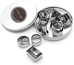 Cofe-BY Mini Geometric Cookie Cutter set – 24 Pieces Metal Fondant Cutters Molds– Hexagon, Square, Circle, Oval, Octagon, Diamond,Ttriangle, Rectangle Shape Cutters for Polymer Clay