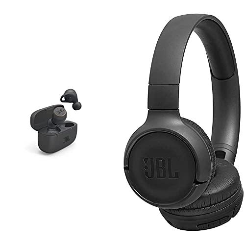 JBL Live 300TWS – Écouteurs Intra-Auriculaires sans Fil – Bluetooth et étanchéité IPX5 – Autonomie de 20 Heures avec l'étui de Recharge – Noir & Tune500 - Casque Supra-auriculaire avec Fil - Noir