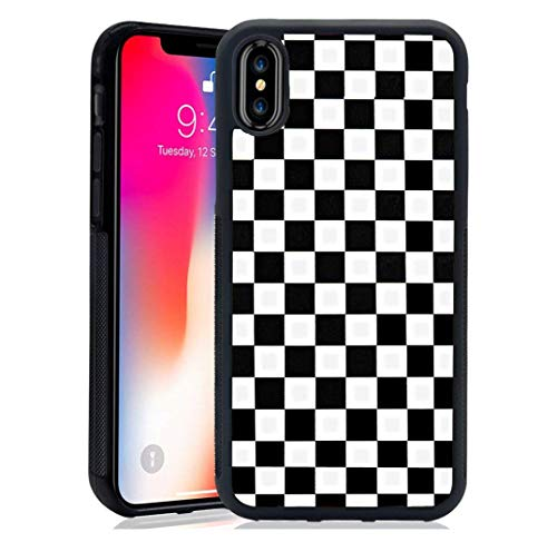 XUNQIAN iPhone XR Case, Black Checkered Flag Artistic Thin Soft Black TPU +Tempered Mirror Material Protective Case for Apple iPhone XR Cases