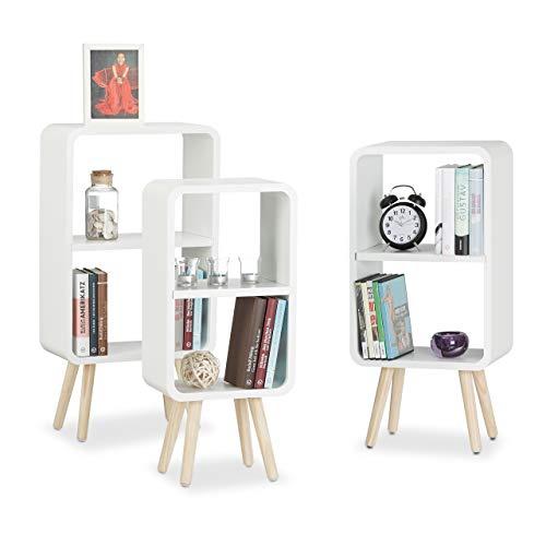 Relaxdays Standregal 3er Set, Wohnzimmerregale zur Aufbewahrung mit je 2 Fächern, MDF Holzregal in 3 Größen, weiß