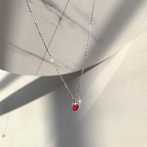 Shangwang - Collar para mujer, plata bañada en circonio rojo, corazón XL110