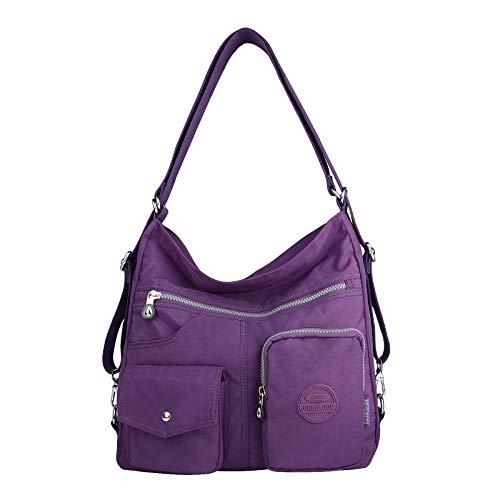 NOTAG Bolsos de Mujer, Impermeable Nylon Bolso Bandolera Multifuncional Mochilas Bolso Hombro Shopper (Púrpura)