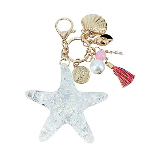 Amosfun Cristal Estrella mar Llavero Concha Perla