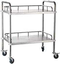INDIAN DECOR 55741 Bar Trolley On Wheels 2 Tier Stainless Steel Beauty Salon Rolling Trolley, Hospital/Dental Clinic Medical Equipment Cart, Universal Brake Wheel, 50 kg Capacity