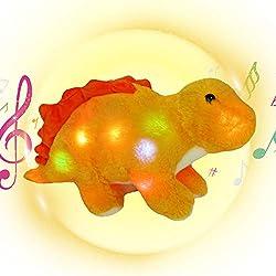6. Houwsbaby 16″ Musical Light Up Stegosaurus Plush Toy