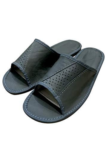 Graue Hausschuhe mit offenen Zehen für Herren, handgefertigt mit Hausschuhen aus Naturleder für Männer