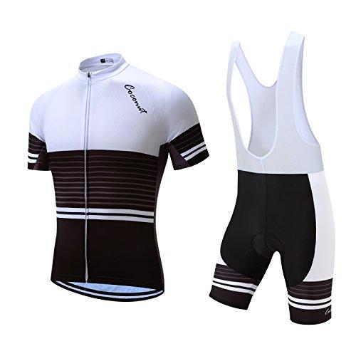Men's Cycling Jersey Set Road Bike Jersye Short Sleeves Cycling Kits + Bib Shorts with 3D Padded (X-Large, White/Black)