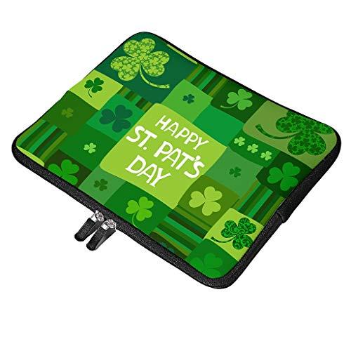 Funda multifuncional para ordenador portátil con asa, compatible con el día de San Patricio, diseño especial, funda protectora con bolsillo para accesorios, color blanco