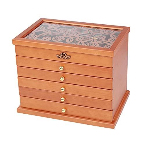 WUQIAO Support de boîte de présentation de Bijoux, Six tiroirs avec 37 Compartiments adaptés à la Commode de vanité de Chambre à Coucher