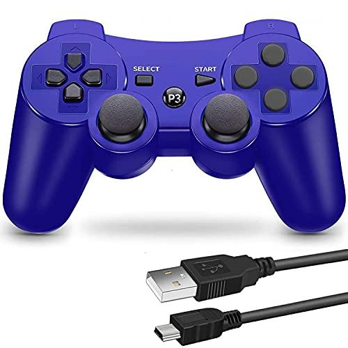 PS3 用 ワイヤレスコントローラー 6軸センサー DUAL SHOCK3 ゲームパット 互換対応 USB ケーブル 日本語説明書 1年保証付き (青)