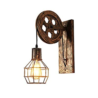 Bowrain 1 Light Fixture Industrial Mid Century Retro Iron Wall Sconce Lift Pulley Wall Lamp Features The Matte Iron Cage Lamp Shade (Bronze Color)