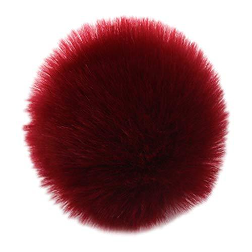 Haptian - Juego de 2 Bolas de 8 cm para Manualidades con Pompones y Bolas elásticas con diseño de Lazo elástico para Hacer Bolsas de chucheras, Bolsas de Regalo de Vino, Color Rojo