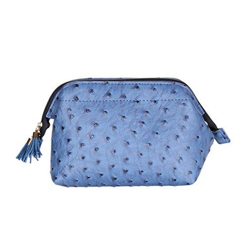 Une Grande Capacité La Forme De Boulettes De Cuir Imperméable à L'eau épaisse Femme Sac Cosmétique Trois Pièces Bleu,Blue-24*24*25cm