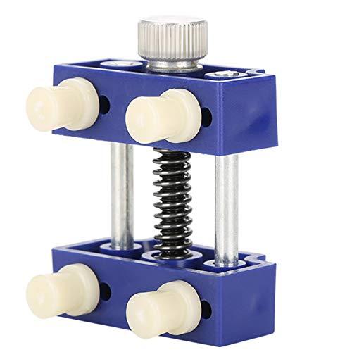 Práctica herramienta de tornillo de banco de metal y plástico para reparación de relojes, adecuada para simplificar el trabajo de reparación de relojes(Blue)