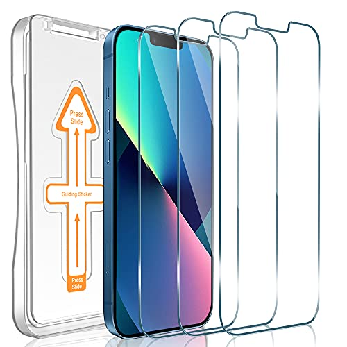 [3 Pack] Janmitta for iPhone 13/13 Pro 6.1'' Screen Protector, HD 9H Hardness Scratch Resistant Tempered Glass with Auto Alignment Kit