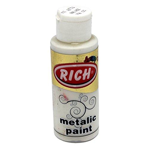 mytortenland Peinture acrylique Rich - Blanc métallique - 70 ml