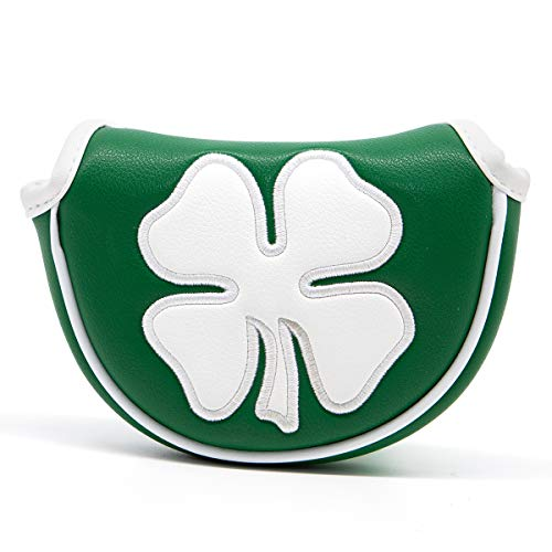 Golf Putter Cover,Putter Headcover Mid Mallet Leather Golf Mallet Putter Cover Golf Club Head Covers with Magnetic for Heel Shaft fits Odyssey,Taylormade,Scotty Cameron (Green)
