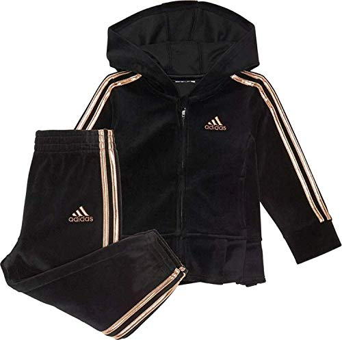 Adidas Baby Girls' Li'l Zip Front Velour Pleated Hoodie Jacket and Pants Set Black/Gold