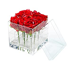 Silk Flower Arrangements Flower Box Water Holder, Acrylic Rose Pots Stand - Decorative Square Vase with Removable 2 Tiers - Valentine's Day, Mother's Day, Birthday Gift