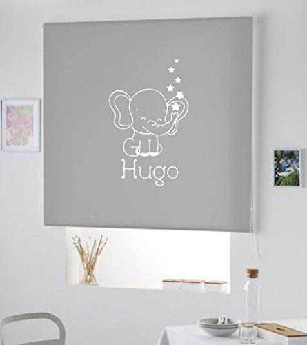 PERSIANA Estor Infantil Personalizado con Nombre Elefante Hugo (120X175, Gris)