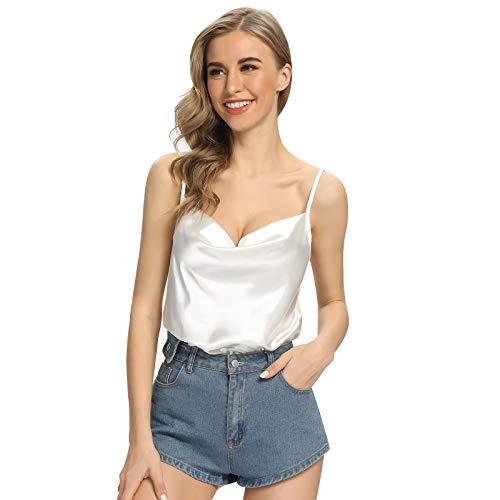 SLIMBELLE Damen Satin Top Ärmelloses Verstellbares Spaghettiträger-Leibchen Sexy Crop Top für Damen mit V-Ausschnitt Weiche Sommerbluse V-Ausschnitt Shirt Weiß S