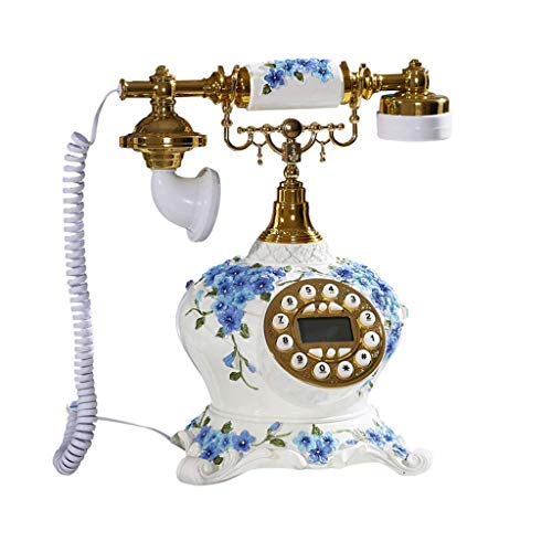 Sywlwxkq Teléfono Teléfono Fijo Retro Simple, Botones Digitales PV de jardín Antiguo, Identificador de Llamadas, Rellamada, Material de Resina, Finamente elaborado, Muebles de Sala Joyería