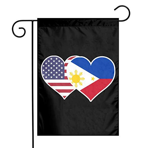 American Philippines Flag Heart Garden Yard Flag 12'x 18', Printed Holiday Flag Banners for Patio Lawn Outdoor Home Decor