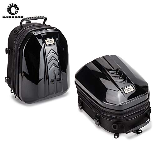 Motorcycle Rear Sear Tail Bag Waterproof Carbon Hard Shell Riding Motocross Dual Sport Saddle Helmet Bag Luggage