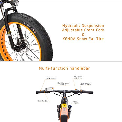 MZZK Electric Mountain Snow Bike for Adult Fat Tires 500W Motor 7-Speed Powerful Bicycle with 48V 13Ah Lithium Battery