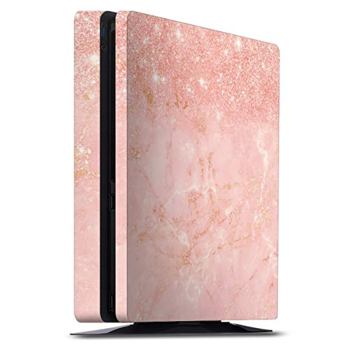 DeinDesign Skin kompatibel mit Sony Playstation 4 PS4 Slim Folie Sticker rosa Muster Glitter