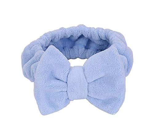 Bandeau élastique large pour cheveux avec nœud en corail - Pour maquillage, cosmétique, douche, spa, bleu