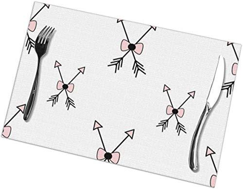 Manteles Individuales con Estampado de Arco y Flecha - Juego de 6 manteles Individuales para Mesa de Comedor, fáciles de Limpiar, duraderos, Antideslizantes, para Mesa de Cocina, Resistentes